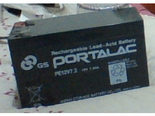 Rechargeable Battery 12V 7.2Ah Brand: Portalac, Japan Battery, made in Taiwan