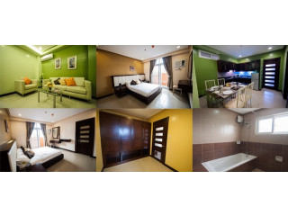 Two Bedroom Executive Suite with huge walk in closet,24/7 CCTV System & Security,Standby Generator with Free SkyCable,Wifi,weekly Housekeeping